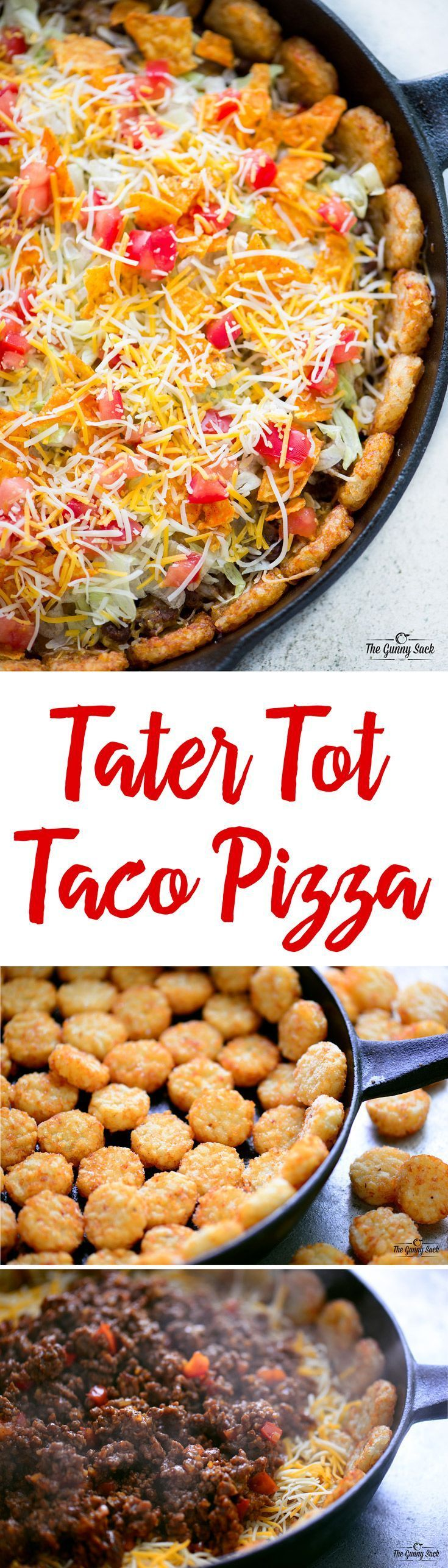 Tater Tot Taco Pizza is a mouthwatering combo of two of your favorite eats: tacos and pizza! The tater tot crust makes this dinner recipe even more fun. This would be a great recipe to serve at a party, potluck or on game day! You can customize it with your favorite taco toppings.