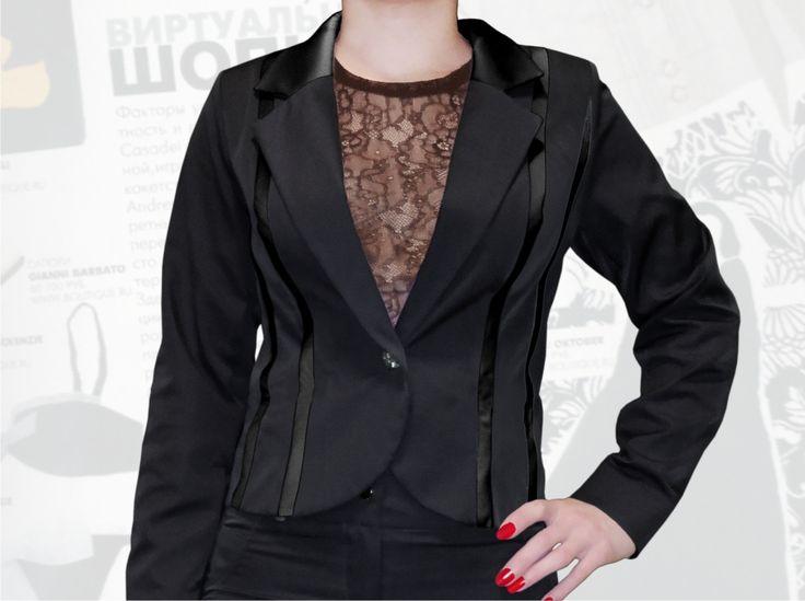 54$ Деловой пиджак для полных девушек с атласными чёрными полосками Артикул 662, р50-64