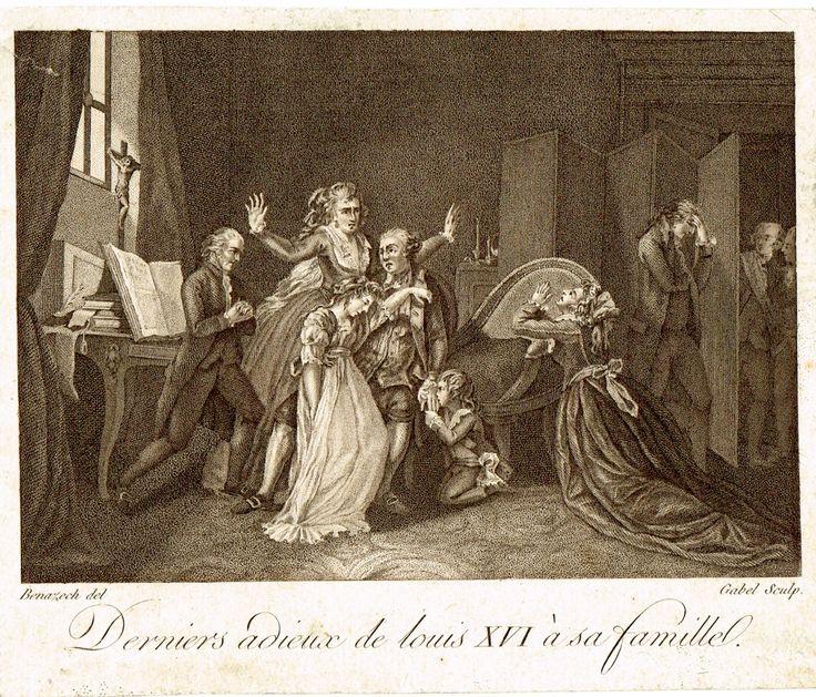 Derniers adieux de Louis XVI à sa famille - gravé par Gabel d'après Benazech