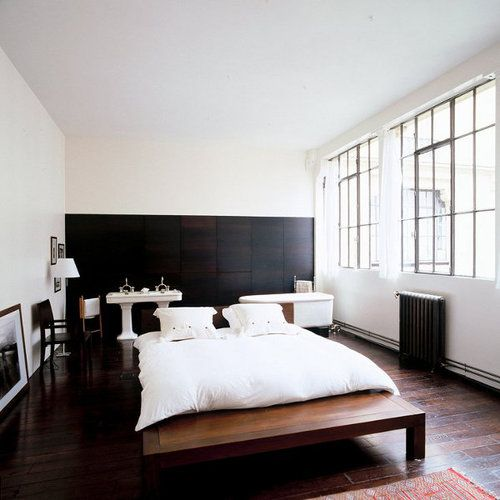 : Studios, Loft Bedrooms, Dark Cabinets, Simple Bedrooms, Interiors, Inspiration Boards, Black White, White Bedrooms, Black Wall