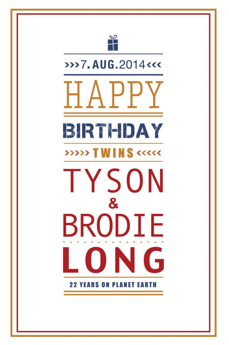 Birthday card design for twins Vibrant & Colourful Typefaces by Rochelle Odendaal