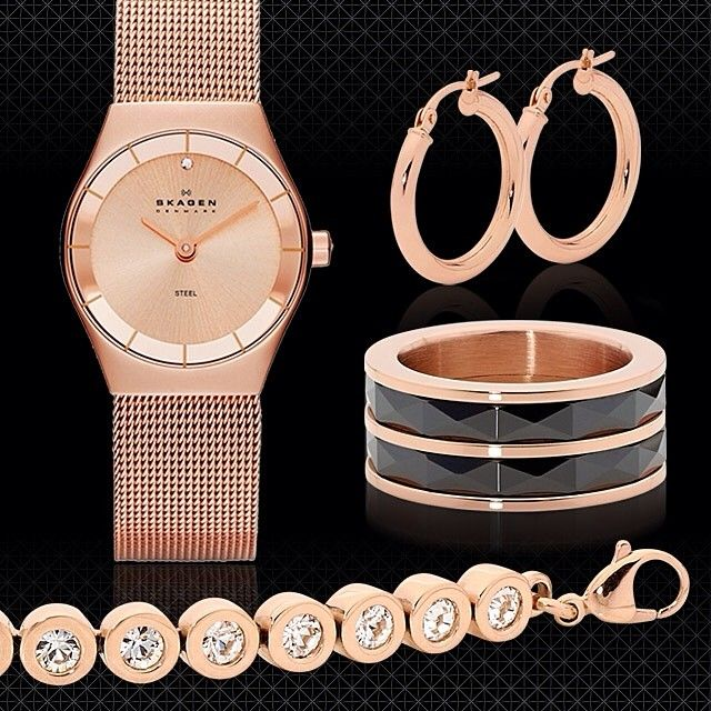 Romantic rose gold remains on trend for AW14, with the warm hues & pink tones perfect for showcasing diamonds. If you're not ready for a rose gold engagement ring, try watches or jewellery, like these beauties from Skagen and Pastiche, available from www.thomasjewellers.com.au