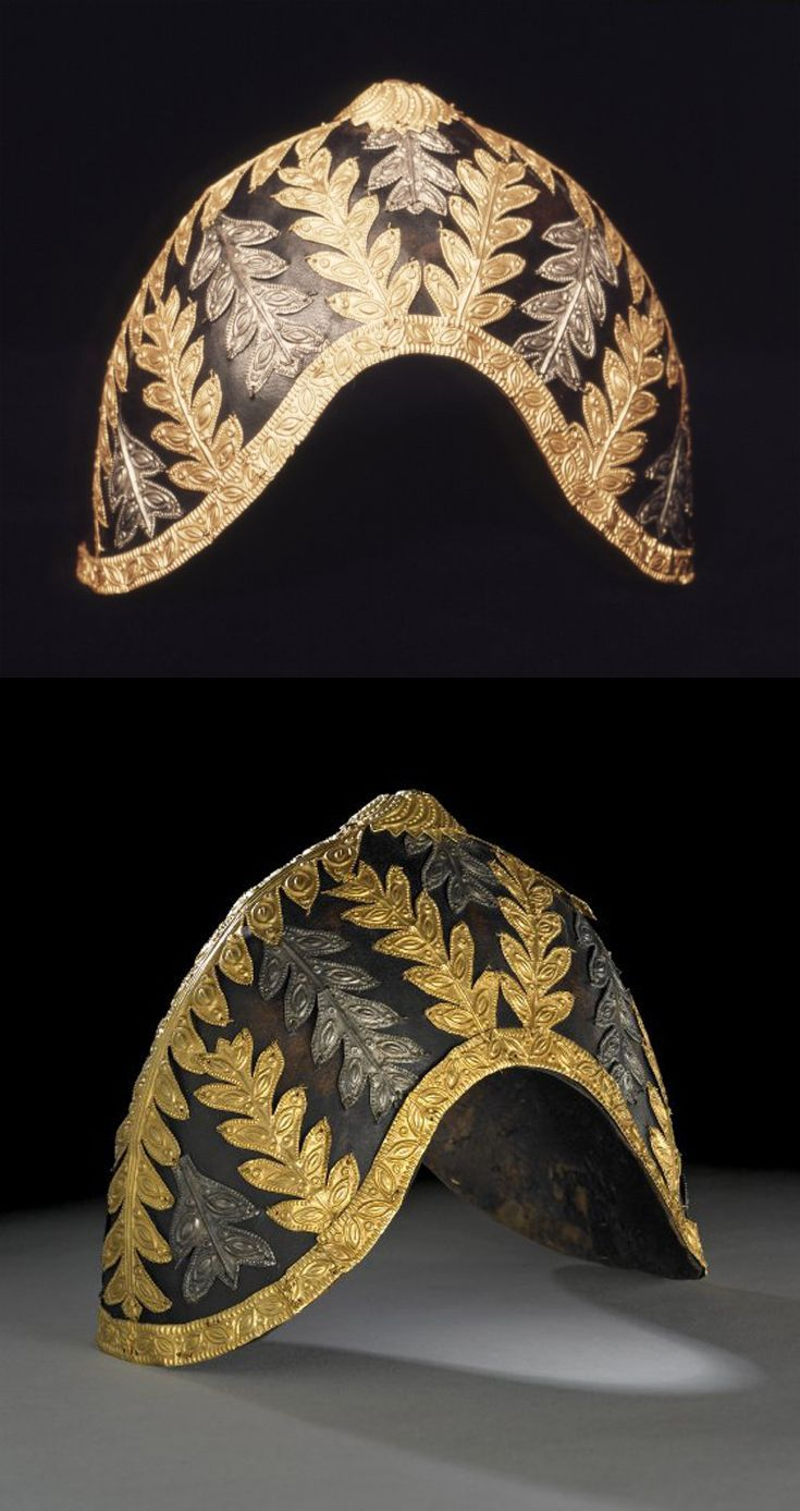 Ghana - Helmet (or hat) from the Akan people, crescent shaped, covered in antelope fur and decorated with gold