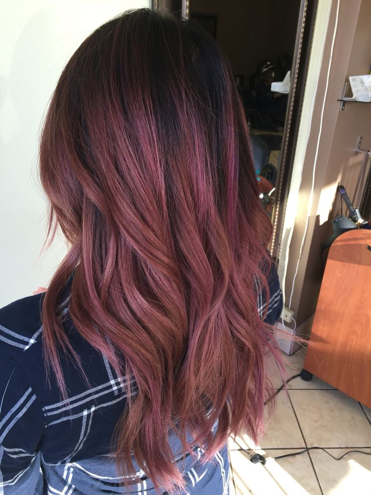 Dark rose hair color - balayage  - ombre