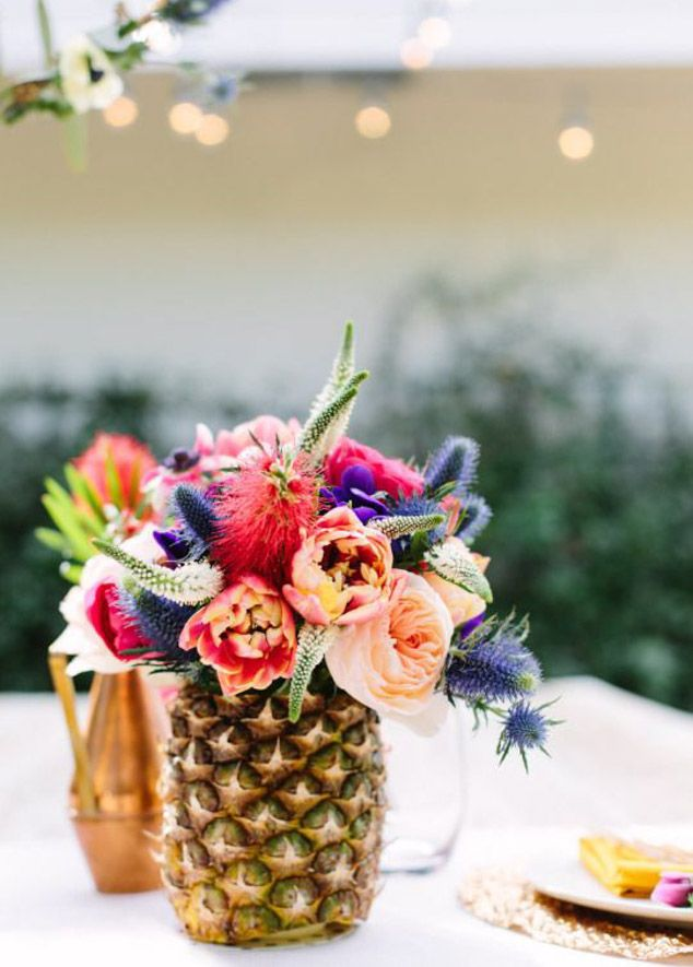 Colorful Floral Arrangement in Pineapple Container