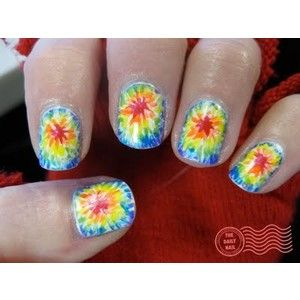 Tye dye rainbow nails. This makes me think of my nail art