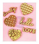 Prima Marketing Wooden Hearts & Phrases Icons With Foil