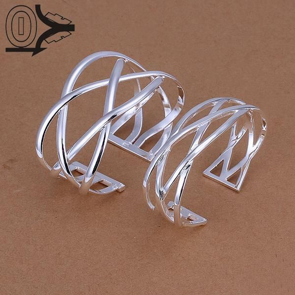 Hot Sell Silver Plated Jewelry Set,Cheap Bridal Party Sets,Fashion Size Cross Silver Bangles Two Pieces