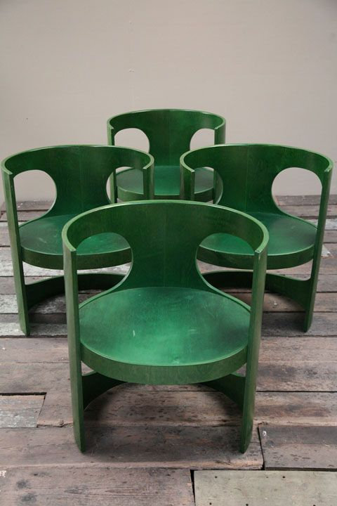 A set of 4 green 'Pre Prop' dining chairs. Designed by Arne Jacobsen in 1969. Produced by Asko. A rare set of chairs in very good vintage condition.  55.5cm wide / 44cm deep / 66cm high / 38.5cm high floor to seat