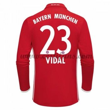 Bayern Munich Fotbalové Dresy 2016-17 Vidal 23 Domáci Dres Dlouhým Rukávem
