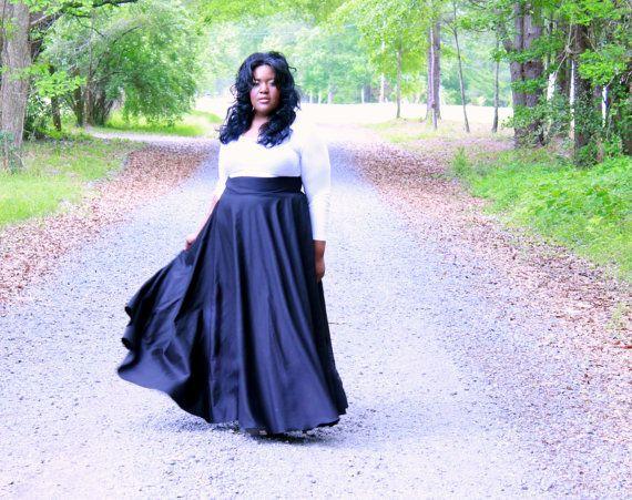 Size 26 38 Plus Size Maxi Skirt / Women by aconversationpiece