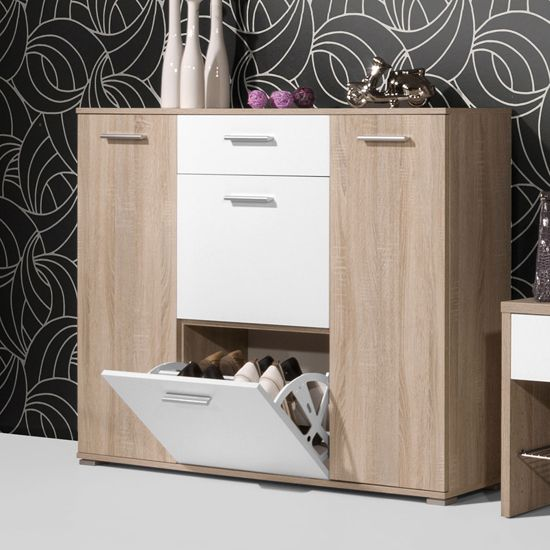 Anna Wooden Shoe Cabinet In Oak And White
