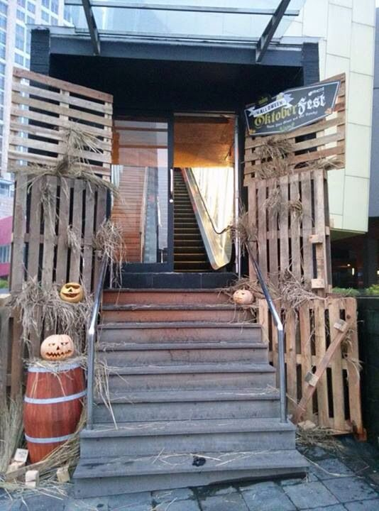 Pallets & pumpkins for octoberfest party at Starkbeer House EX plaza Indonesia. Decor by Infinita