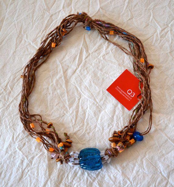 Collana fili grande perla blu in vetro fiore perline di Quasimodo3, €24.00