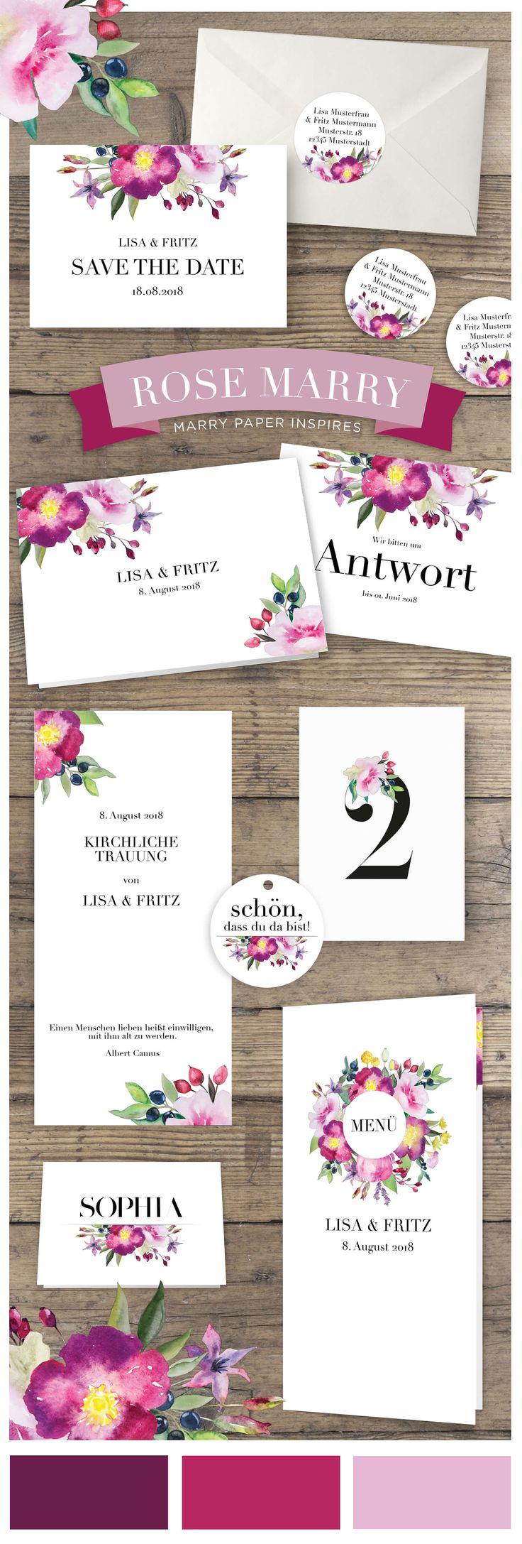 Hochzeitspapeterie: Hochzeitseinladungen, Save The Date Karten im wunderschönen Aquarell Rosen Stil