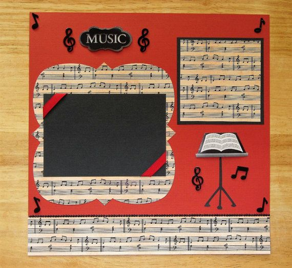 Music Scrapbook Page - Music Scrapbook Layout - 12 x 12 Scrapbook - Band - Orchestra - Concert - Music Lessons - Choir - Glee Club AngelBDesigns4You