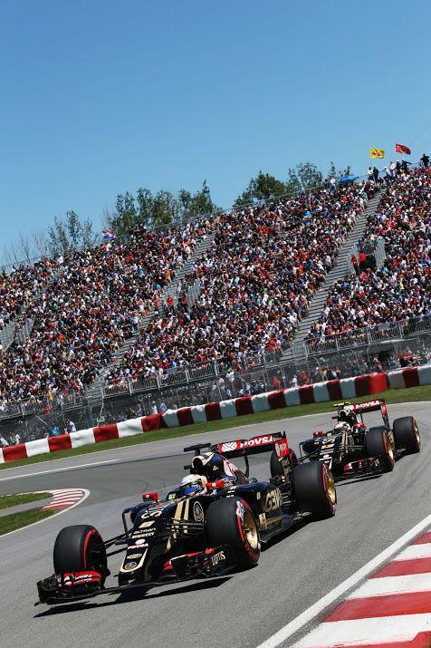 Romain Grosjean (FRA) Lotus F1 E23 leads team mate Pastor Maldonado (VEN) Lotus F1 E23.Canadian Grand Prix, Saturday 6th June 2015. Montreal, Canada.