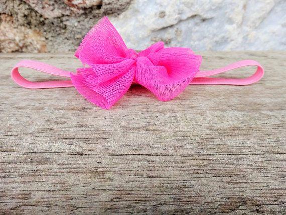 Twininas boho fuchsia headband. Handmade headband with soft and stretchy elastic adorned with elastic tulle in fluo fuchsia and felt backing.  Please