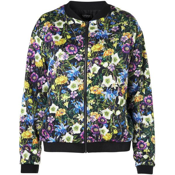 Botanical Floral Bomber Jacket ($96) ❤ liked on Polyvore featuring outerwear, jackets, bomber, coats & jackets, floral, blouson jacket, blue bomber jacket, cotton jacket, blue jackets and floral-print bomber jackets