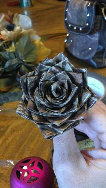 Camo duck tape flowers for the wedding