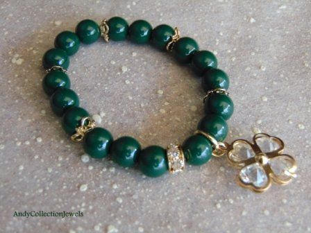 Charming Women Green Wristband with Gold-tone Rhinestone & Crystal Cloverleaf Charm