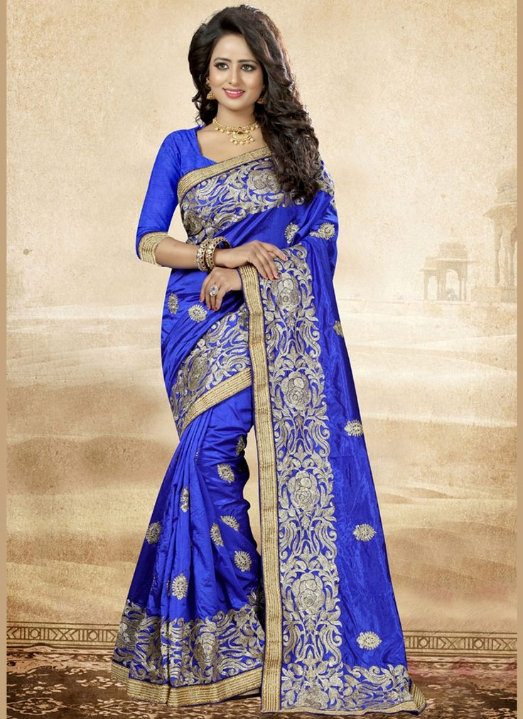 Online shopping for latest collection of designer sarees. Shop this art silk embroidered and resham work designer saree for reception.