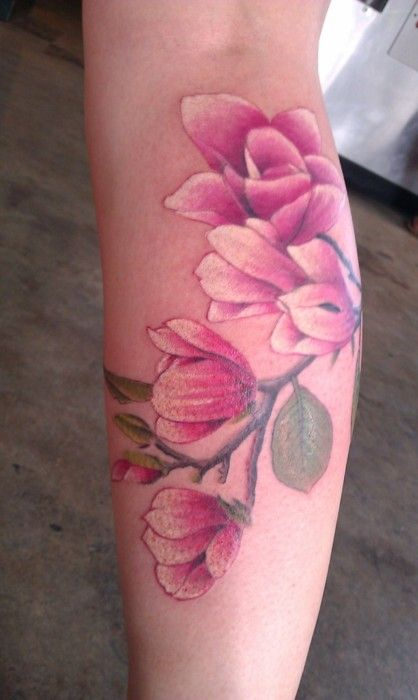 Dark pink watercolor tattoos, flower tattoos, forearms tattoos for girls
