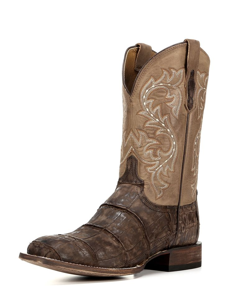 Men's Malcom Giant Alligator Boot - Chocolate - Malcolm is an exotic, distressed western boot. Lucchese's exclusive giant alligator vamp provides a worn-in, rugged look and accented quarter stitching offers western style. Leather sole. Handmade in Mexico.