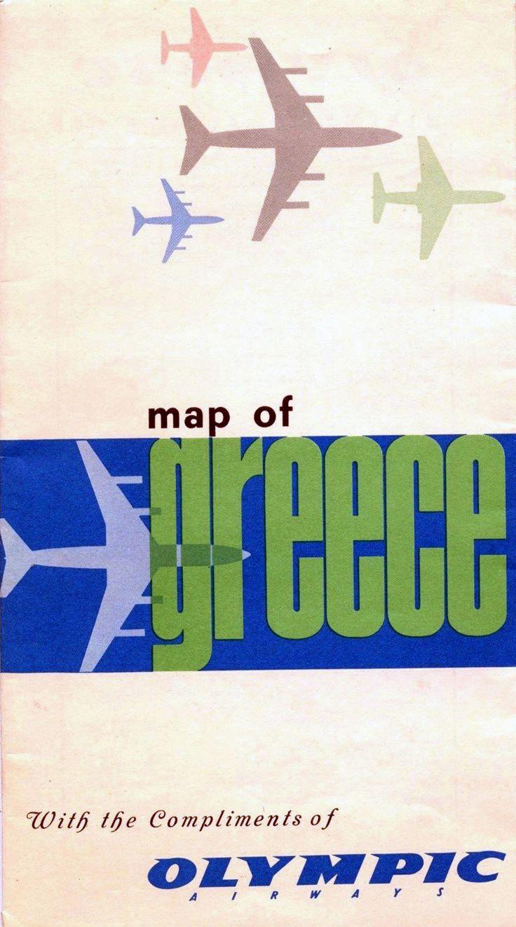 Olympic Airways Vintage map of Greece