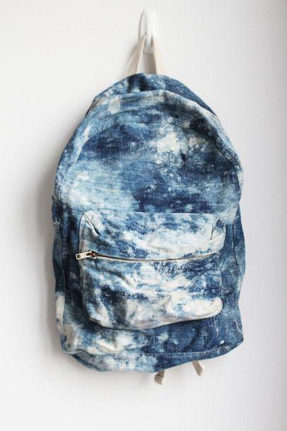 Bag: backpack acid wash denim backpack grunge wishlist blouse blue light blue dope white marble