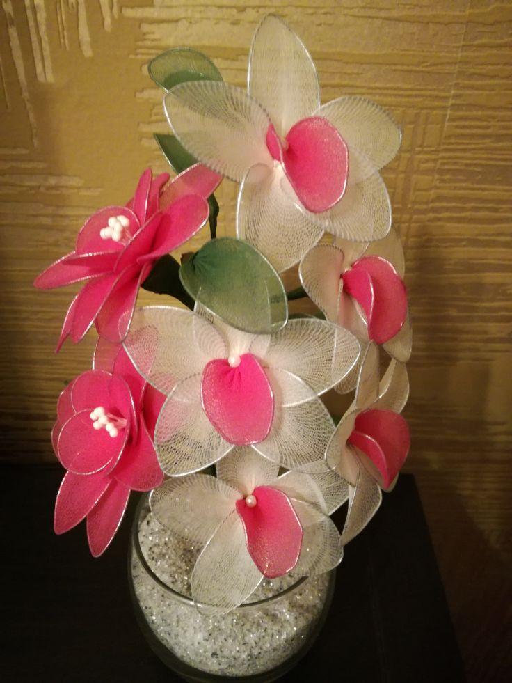 Orchids and lilies - pink and white