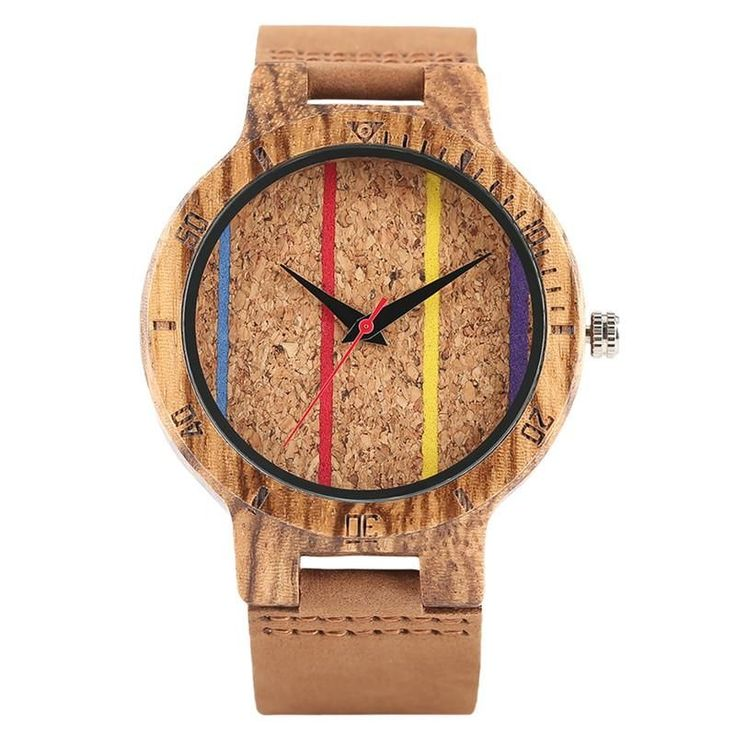 Men's Wooden Watch : Bamboo / Coloured Lines / You Wood Like