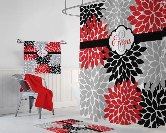 Red Black Gray Flower Shower Curtain
