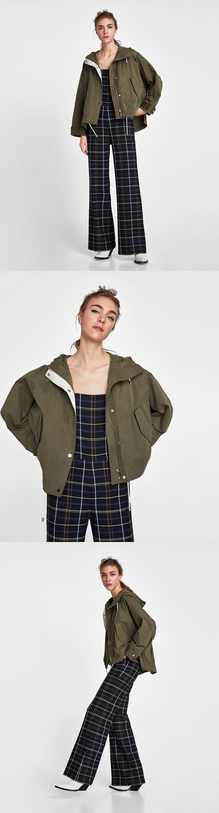 Short Oversized Parka // 69.90 USD // Zara // Parka with hood and long sleeves with contrasting tabs on the cuffs. Front flap pockets with snap buttons. Zip-up front hidden by a snap button placket. HEIGHT OF MODEL: 178 cm. / 5′ 10″