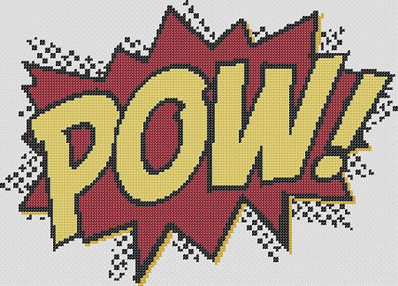 Cross Stitch Pattern - POW - Comic Book Inspired Design - Chart P01 - by kanitted