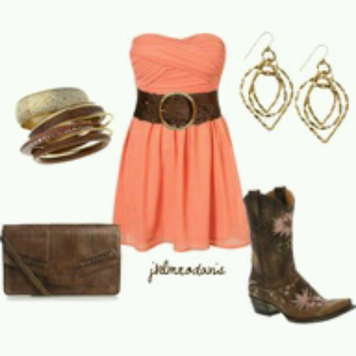 love the dress and boots cute country girl outfit