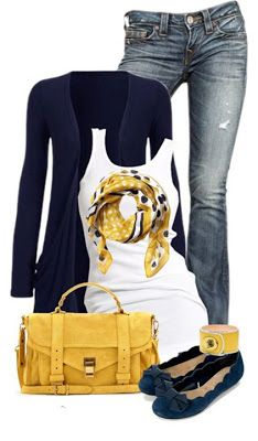 Great scarf! Like the purse & jeans, too. Long cardis are hit and miss for me, though.
