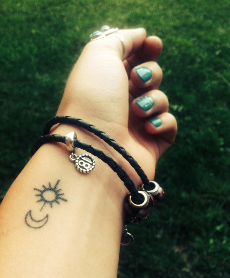 Small Sun and Moon Tattoo