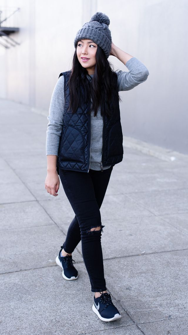 """Zady Sweater, Madewell Reversible Vest (styled here too!), Nordstrom Rack Beanie (similar), Mavi Jeans (similar), Nike """"Roshe Run"""" Sneakers One of my favorite parts about wearing a beanie (or any hat)"""