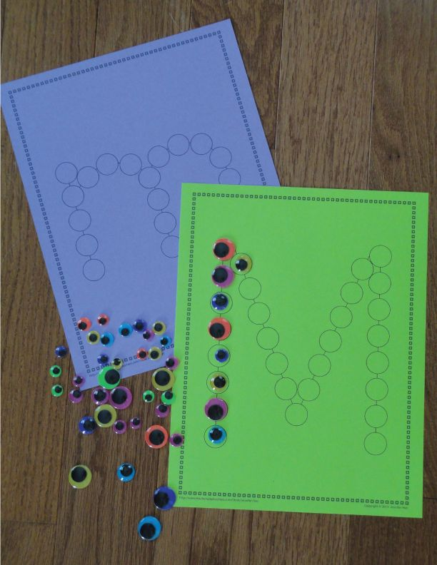 M is for Monster - letter recognition activity and fine motor fun. Use googly eyes on Lots of Dots Letter Pages. This is great activity for a busy bag....especially if your kiddo loves Monsters Inc.