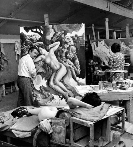 Thomas Hart Benton on his painting, 'The Rape of Persephone'  Photographed by Alfred Eisenstaedt, 1938.