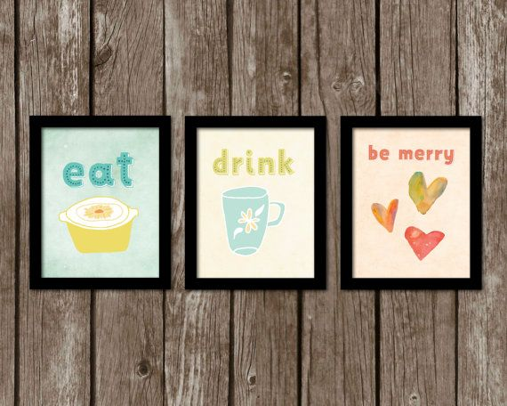 SALE. Instant Download. Set of 3 Kitchen Prints. Eat. Drink. Be Merry Art. Wall Decor. Printable Kitchen Wall Art. Eat Drink Merry Art.