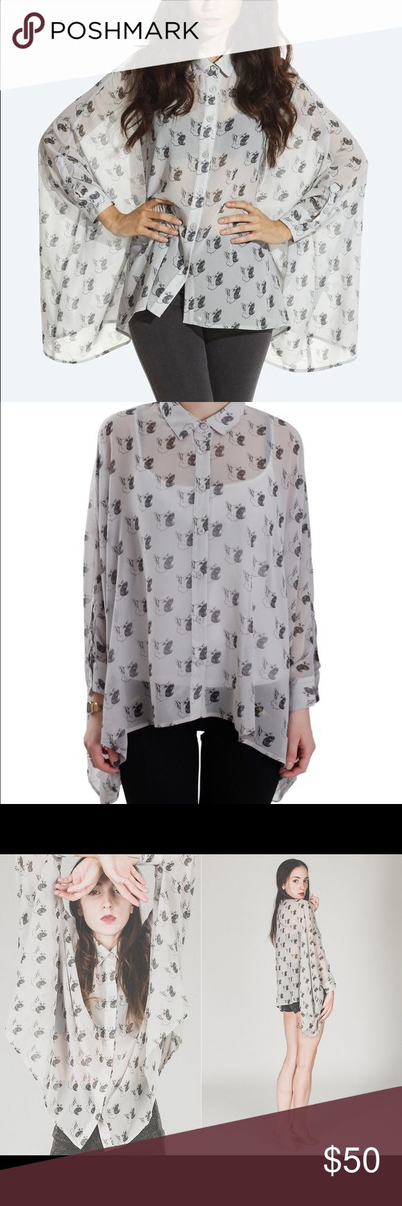Drop dead woof woof shirt Sheer button down batwing shirt with an asymmetrical hemline and barking woowoos throughout. Petite small but can accommodate much larger sizes. NIP never even opened. drop dead Tops Button Down Shirts