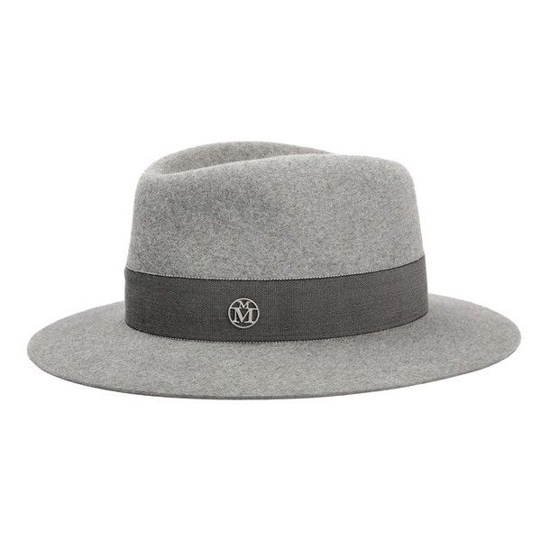 Maison Michel 'Andre' Genuine Rabbit Fur Felt Hat ($695) ❤ liked on Polyvore featuring accessories, hats, diapson grey, maison michel hats, rabbit felt hat, flat hat, waterproof hat and brimmed hat