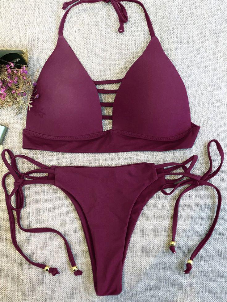 $19.49 Plunge Bikini Top and Thong Bikini Bottoms - WINE RED M