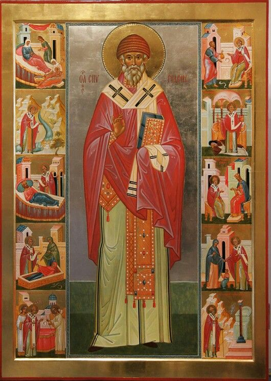 Saint Spyridon the Wonderworker of Tremithus, in Cyprus (+ 348 A.D.) with scenes from his life
