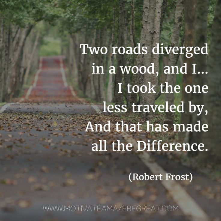 12. Two roads diverged in a wood, and I—I took the one less traveled by, And that has made all the difference. - Robert Frost