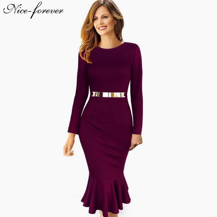 Casual Work dress Stylish Bodycon Office Lady Solid O Neck $32.54   => Save up to 60% and Free Shipping => Order Now! #fashion #woman #shop #diy  http://www.yiclothes.net/product/nice-forever-casual-work-dress-stylish-bodycon-office-lady-solid-o-neck-full-sleeve-sequined-sheath-vintage-mermaid-dress-b242/