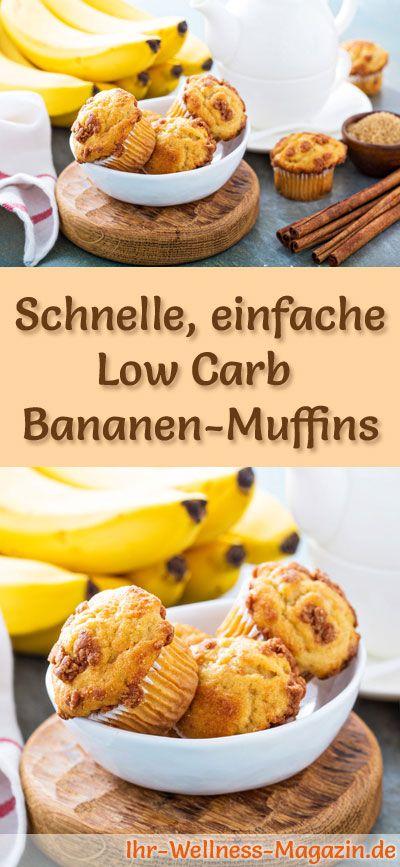 Rezept für Low Carb Bananen-Muffins: Der kohlenhydratarme, kalorienreduzierte Kuchen wird ohne Zucker und Getreidemehl zubereitet ... #lowcarb #kuchen #backen