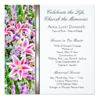32 best Funeral Invitations Announcements images on Pinterest